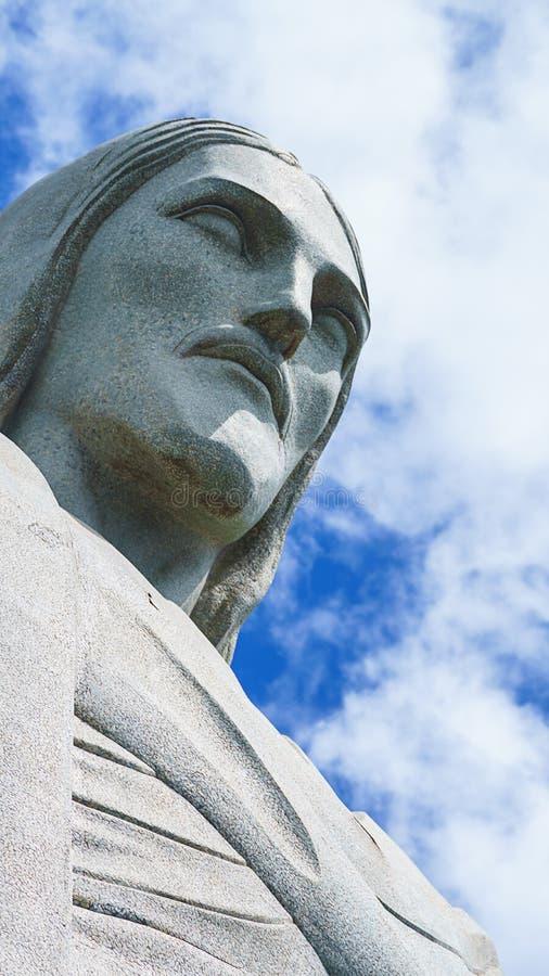 Berühmter Christus der Erlöser in Rio de Janeiro, Brasilien Gesicht von Christus der Erlöser lizenzfreie stockfotos