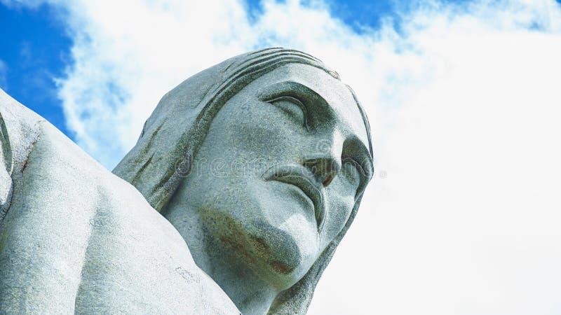 Berühmter Christus der Erlöser in Rio de Janeiro, Brasilien Gesicht von Christus der Erlöser lizenzfreies stockfoto