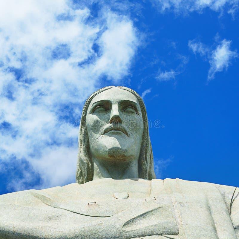 Berühmter Christus der Erlöser in Rio de Janeiro, Brasilien Gesicht von Christus der Erlöser lizenzfreie stockbilder