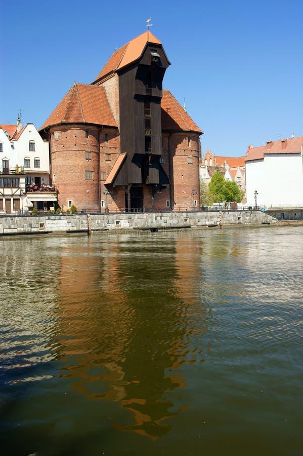 Berühmter hölzerner Kran Gdansk-, Danzig, Polen stockfoto
