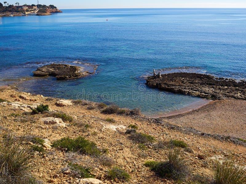 Berühmter Küstenstrand von Cabo Roig Provinz von Alicante Costa Bla lizenzfreies stockfoto