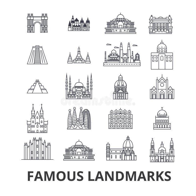 Berühmter Markstein, Anblick, Weltplatz, Weltreise, Tourismus, Ferienlinie Ikonen Editable Anschläge Flacher Designvektor lizenzfreie abbildung