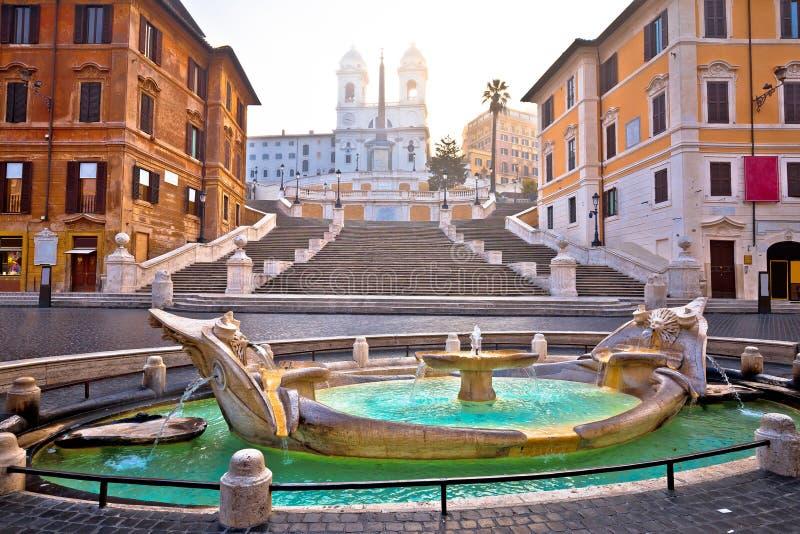 Berühmter Markstein der spanischen Schritte der Rom-Morgenansicht stockfoto