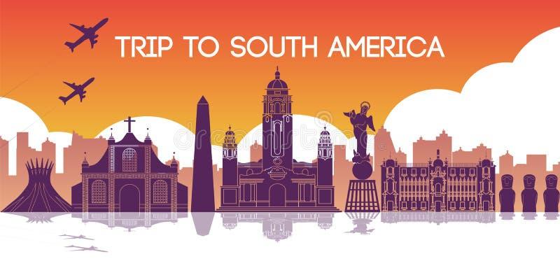 Berühmter Markstein von Südamerika, Reiseziel, Schattenbild d vektor abbildung
