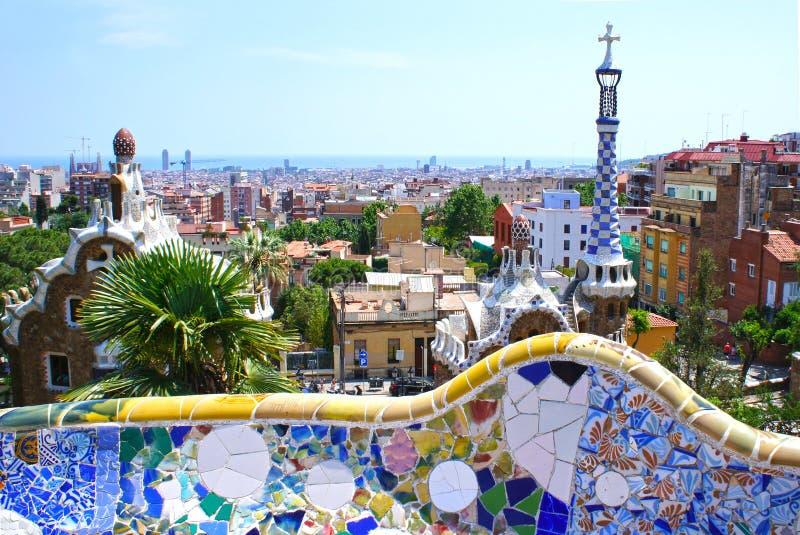Berühmter Park Guell in Barcelona, Spanien stockfotos