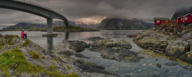 Berühmtes Lofoten, Norwegen-Landschaft, Nordland stockbild