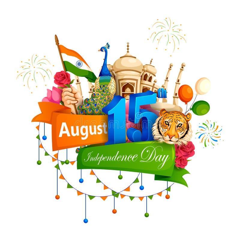 Berühmtes Monument von Indien im indischen Hintergrund für glücklichen Unabhängigkeitstag lizenzfreie abbildung