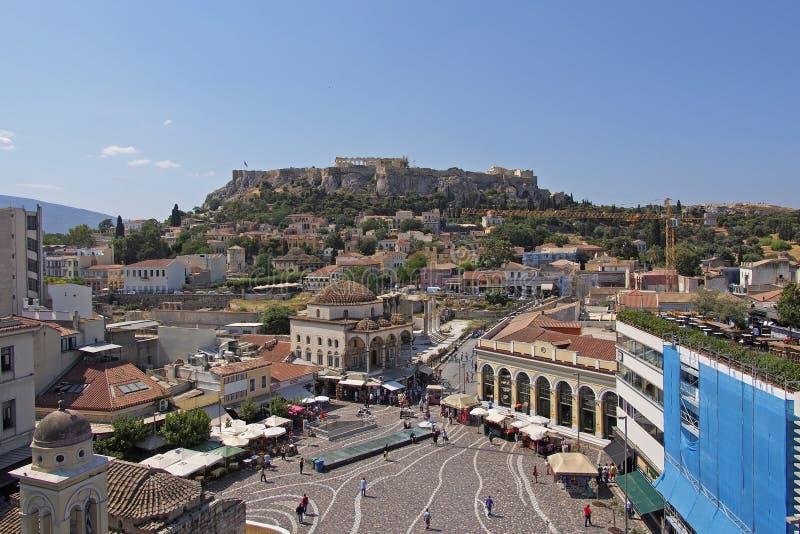 Berühmtes Quadrat Monastiraki, Athen Griechenland lizenzfreie stockfotografie