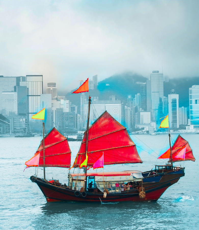 Berühmtes Segelboot Hong Kongs lizenzfreies stockfoto
