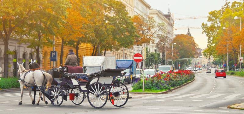 Berühmtes traditionelles Pferdgezogenes fiaker carrige in der alten historischen Mittelstraße von Wien, Österreich Alltagsleben v stockbilder