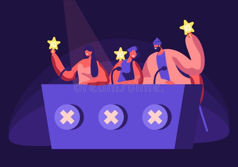 Berühmtheiten, die Teilnehmer während der Unterhaltung auf Talent-Show oder Künstler-Stadiums-Hörprobe beurteilen Richter, di lizenzfreie abbildung