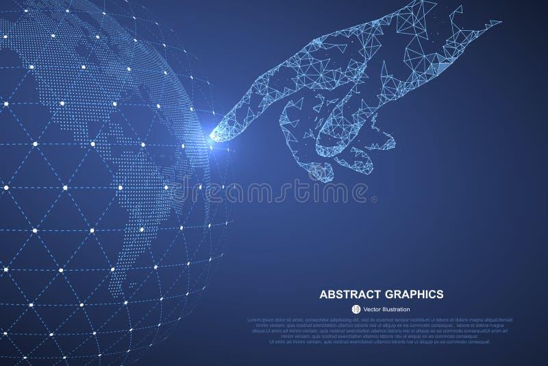 Berühren Sie die Zukunft, Illustration einer Richtung des Wissenschaft und Technik lizenzfreie abbildung