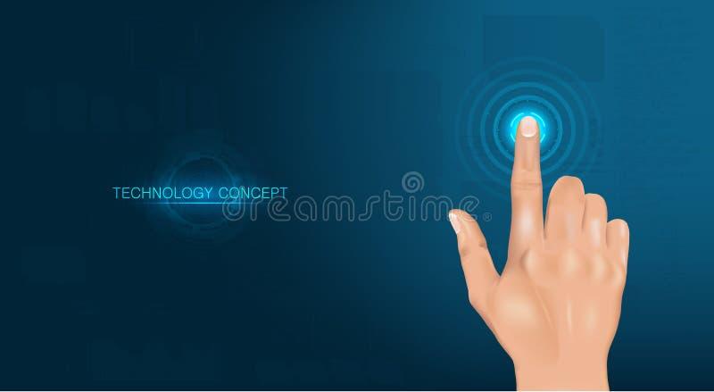 Berühren Sie die Zukunft, realistische Hand vektor abbildung