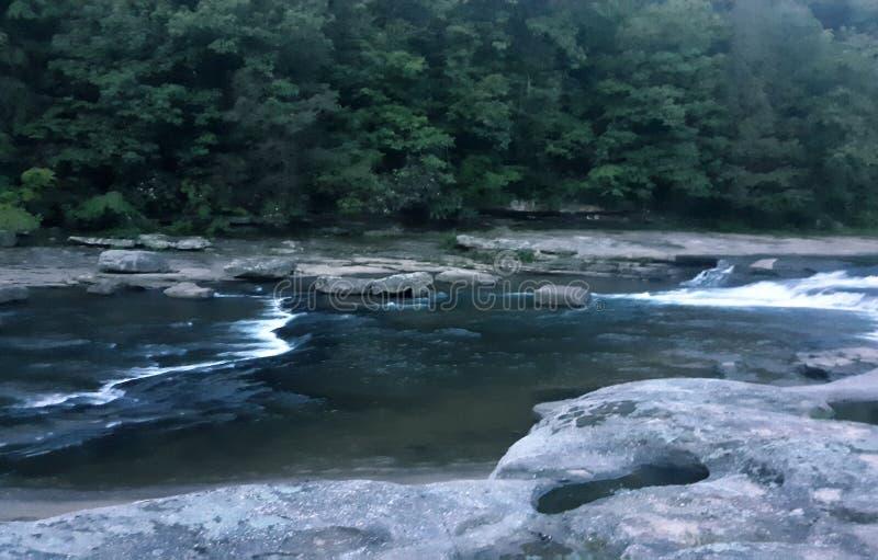 ?ber dem Fluss und durch das Holz stockbild