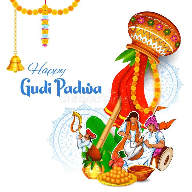 Ber?m Gudi Padwa m?n- f?r nytt ?r i Maharastra Indien stock illustrationer