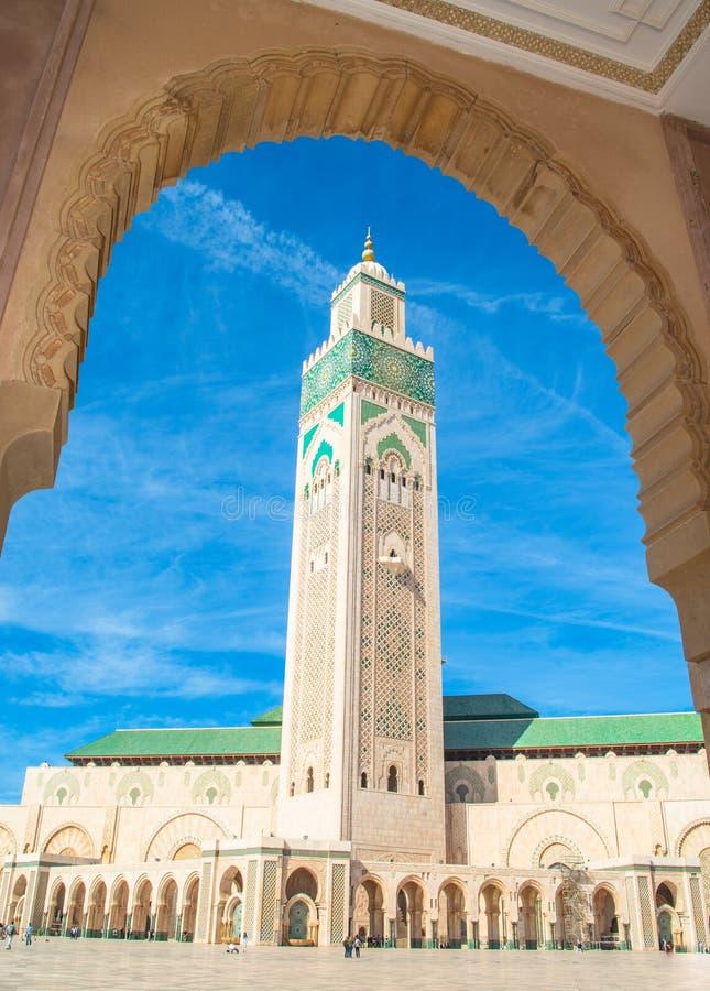 Ber?md Hassan II mosk? arkivfoton