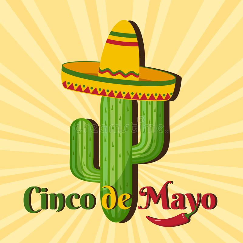 Ber?mkort f?r Cinco de Mayo Ferie i Mexico vektor stock illustrationer
