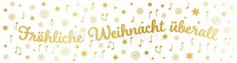 Berall do ¼ de Fröhliche Weihnacht Ã, cumprimentos alemães do Natal, bandeira, letras douradas, estrelas, notas e flocos de neve ilustração stock