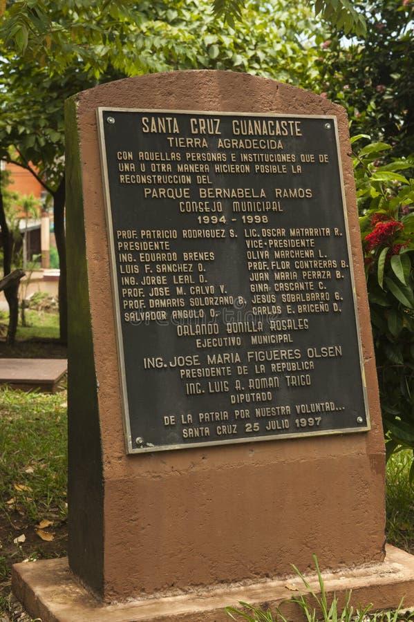 Beranabela拉莫斯公园的标志在圣克鲁斯,哥斯达黎加 免版税库存图片