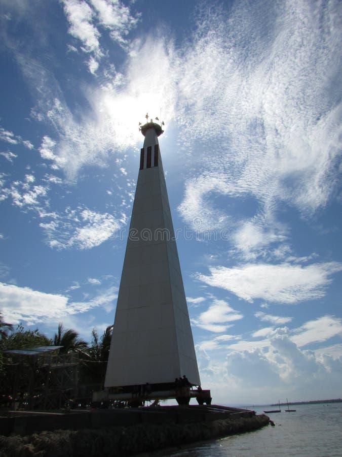 Beras Basah Lighthouse. Beautiful lighthouse in Beras Basah Island stock images