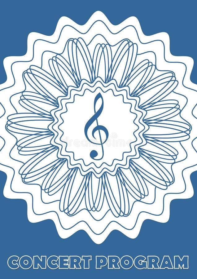 Beraten Sie sich üb ProgrammAbdeckung Schablone mit Violinschlüssel im abstrakten Sternform-, weißem und Blauemdesign Entwurfsblu stock abbildung