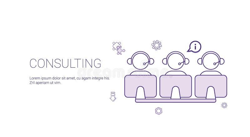 Beratungsteam support technology concept banner mit Kopien-Raum zeichnen dünn lizenzfreie abbildung