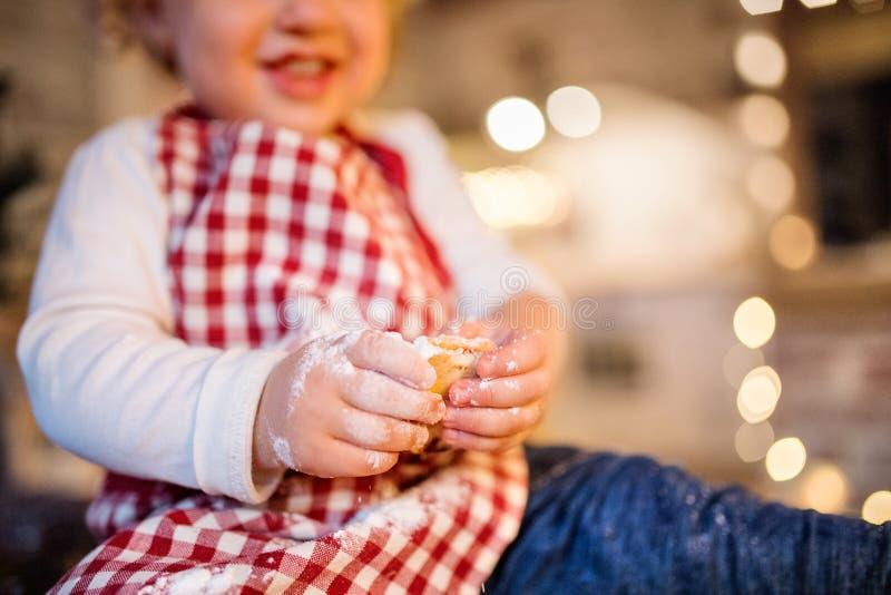 Berbeć chłopiec robi piernikowym ciastkom w domu zdjęcie stock