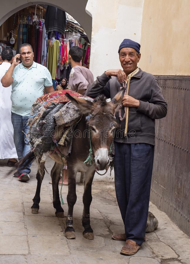 Rush Hour Traffic in Fes Alleyway. A Berber gentleman makes his way through a narrow alleyway with the help of his trusty burro bearing his load of materials stock photo