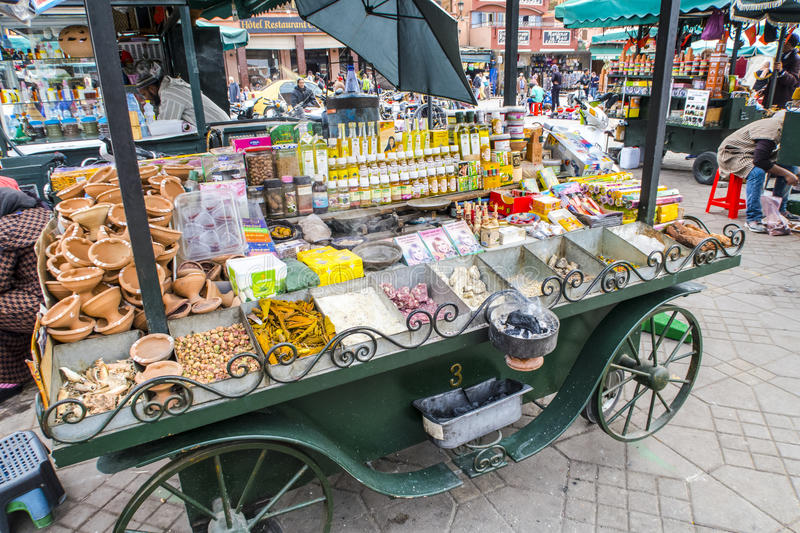 Berber market in the souks of Marrakech, Morocco stock photography