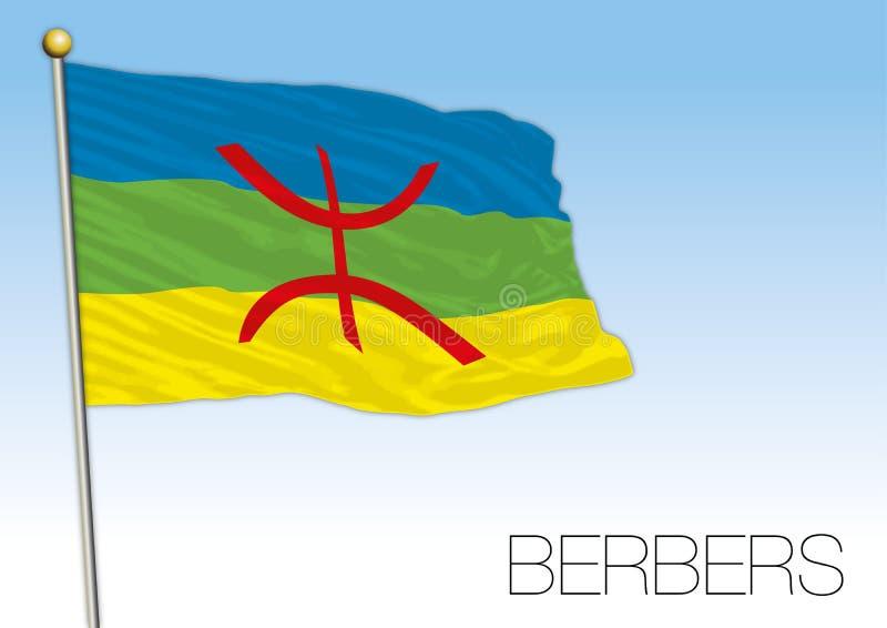 Berber populacji flaga, afryka pólnocna royalty ilustracja
