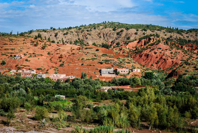 Berber village ourica valley royalty free stock photo