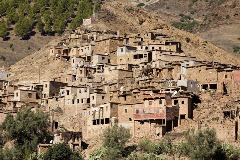Berberdorp, Atlasbergen, Marokko royalty-vrije stock foto's