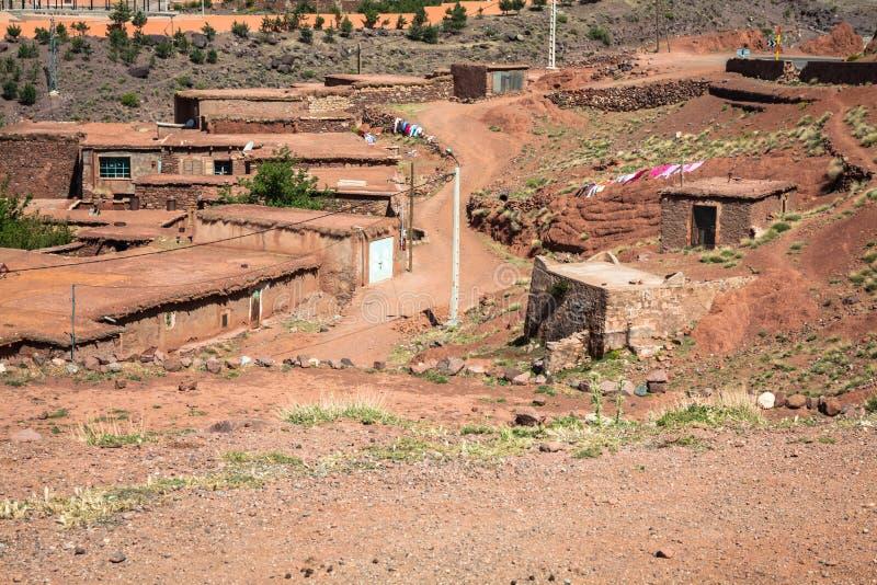 Berberdorp in Atlasbergen, Marokko royalty-vrije stock foto
