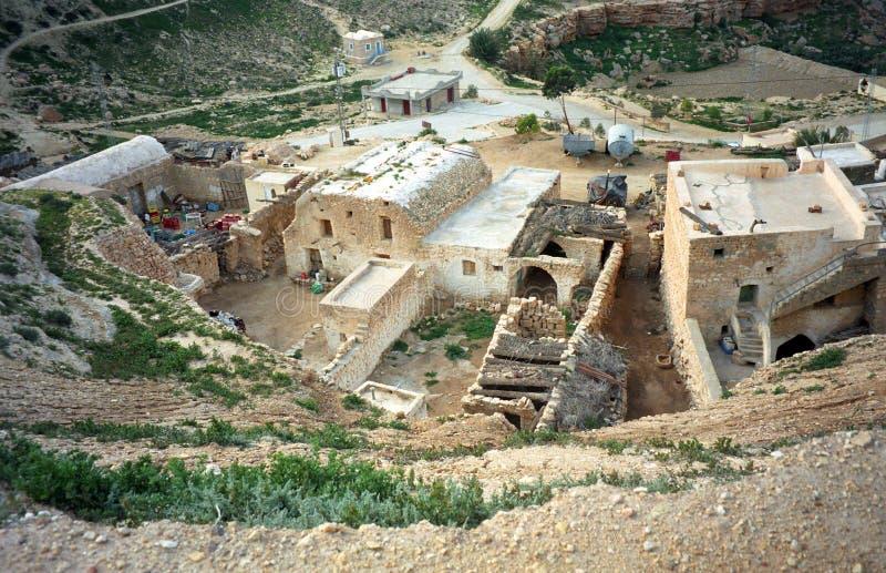 Berberdorp, Chenini, Tunesië stock foto's