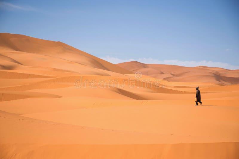 Berbernomade die in de woestijn van merzouga Marokko lopen Één persoon die in de Sahara lopen stock afbeelding
