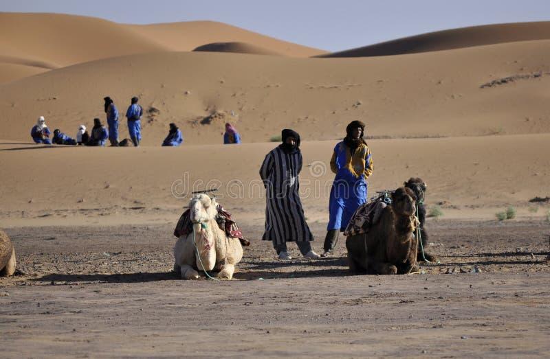 Berbers z wielbłądami przy diunami, april16,2012 zdjęcie stock