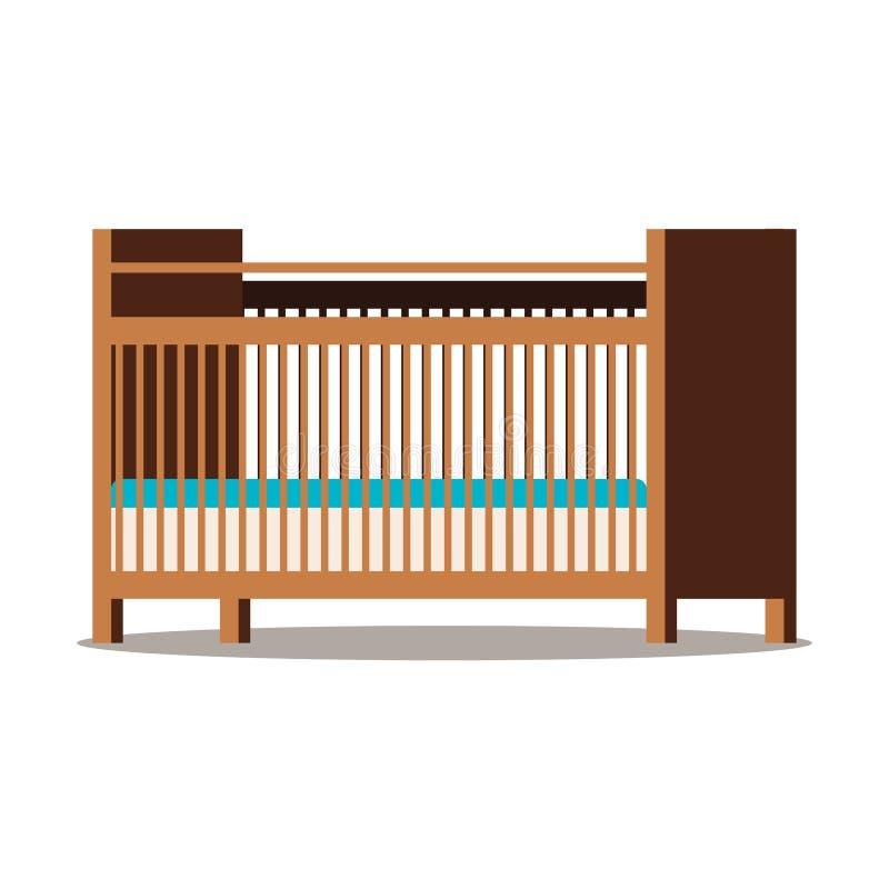 Berceau brun en bois avec le matelas deux d'isolement sur le fond blanc illustration stock