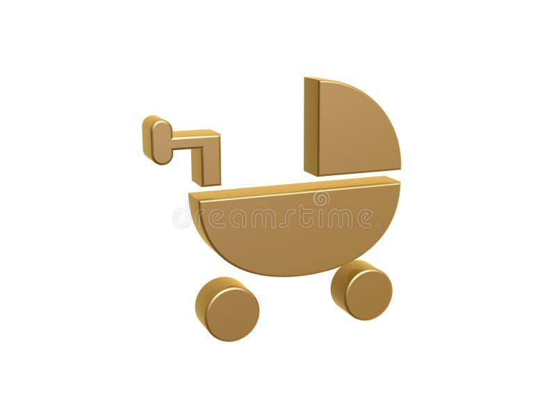 Berceau d'or de bébé illustration de vecteur