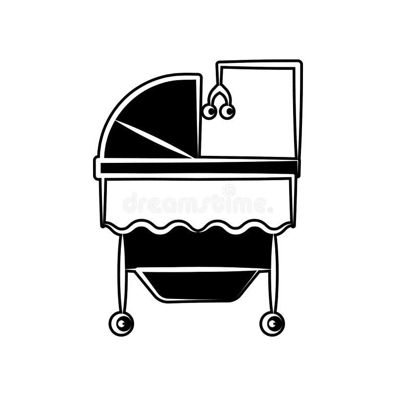 Berceau d'icône de jouet de berceuse de bébé r Glyph, icône plate pour la conception de site Web illustration libre de droits