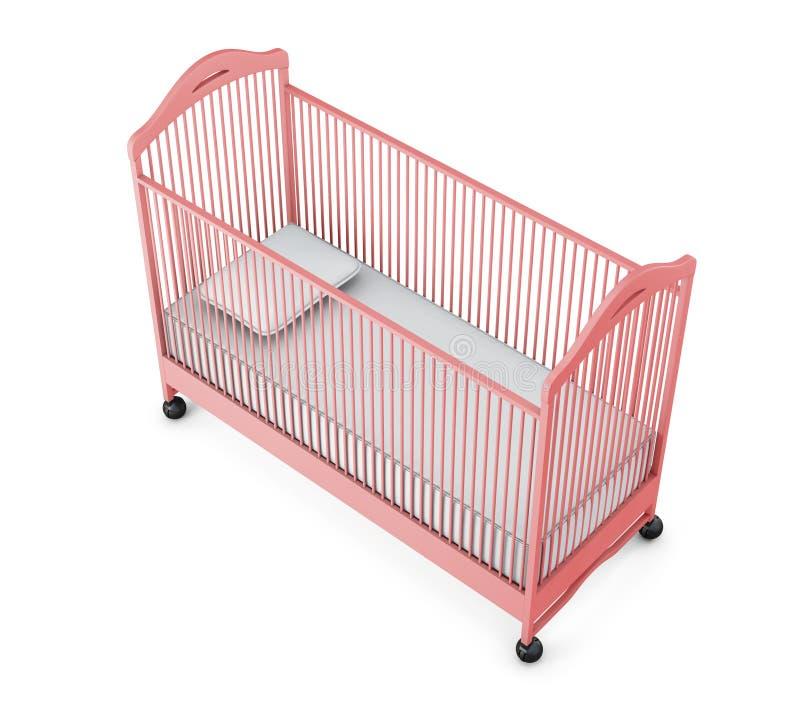 Berceau de bébé rose d'isolement sur le fond blanc rendu 3d illustration libre de droits