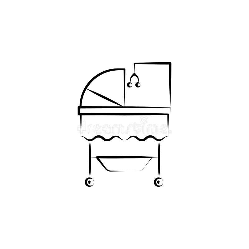 Berceau de ligne icône de concept de jouet de berceuse de bébé Illustration simple d'élément Conception de symbole d'ensemble de  illustration libre de droits