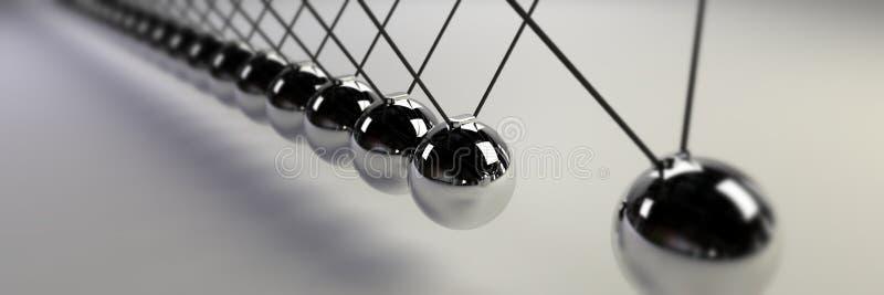 Berceau de Newton, concept de cause et l'effet, bannière en acier de berceau du ` s de Newton d'infini photos stock