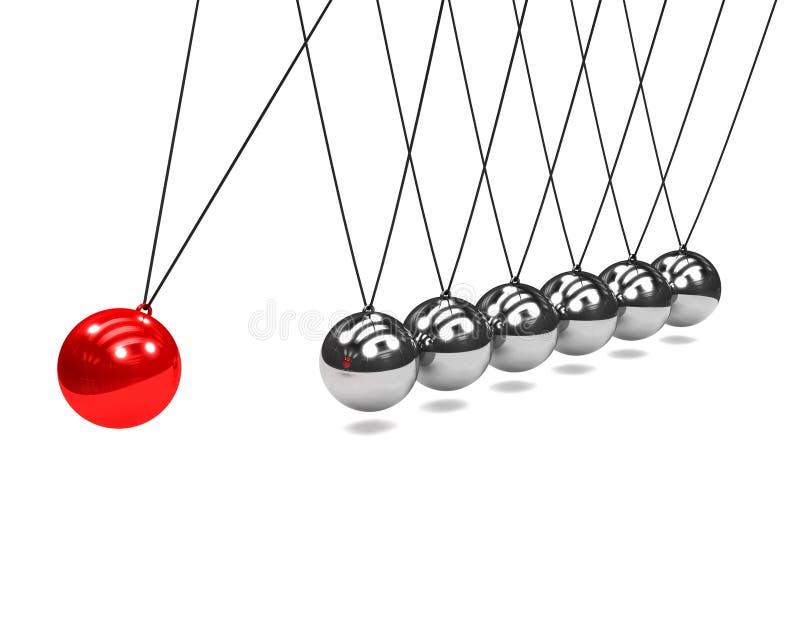 berceau de newton 3d avec la boule rouge illustration stock