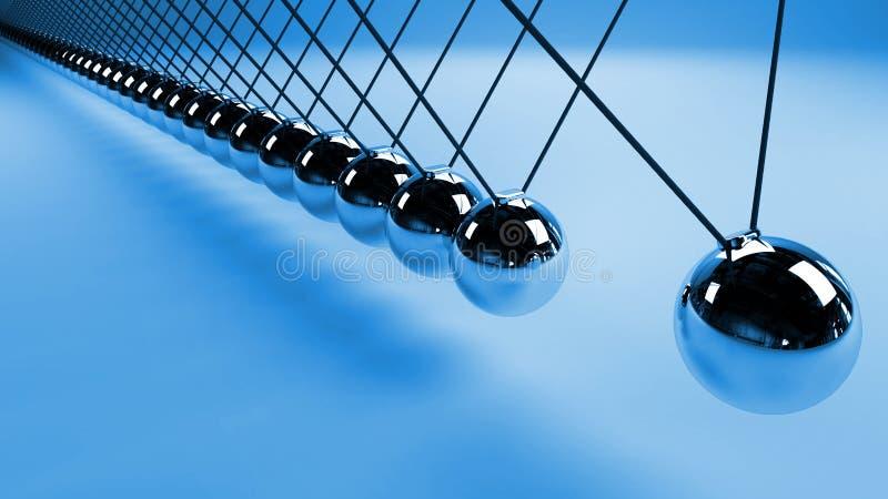 Berceau du ` s de Newton, action et concept de réaction, boules en métal dans le mouvement photo libre de droits