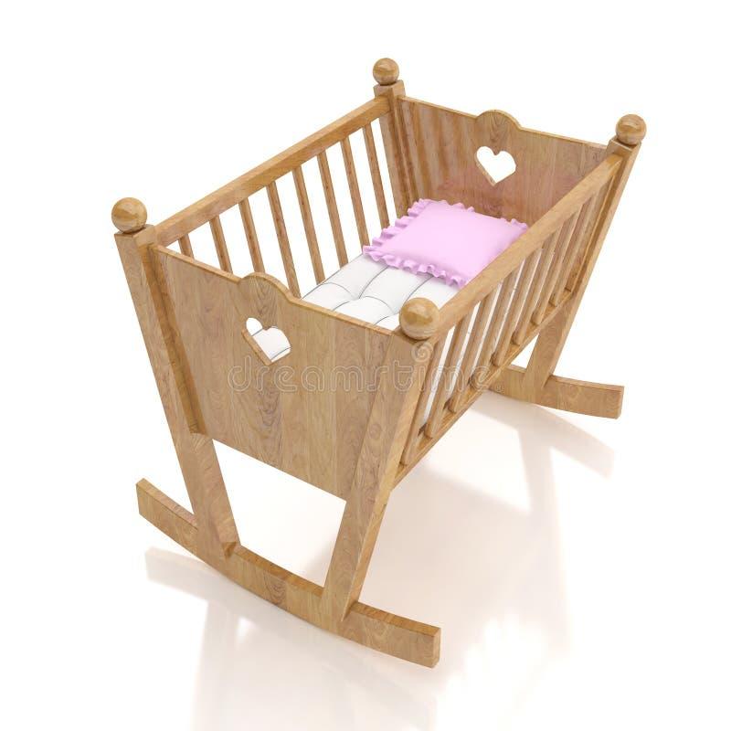 Berceau en bois de bébé avec l'oreiller rose d'isolement sur le fond blanc image libre de droits