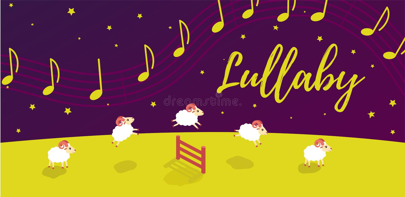 Berceuse de chanson de bébé avant heure du coucher Les agneaux sautent par-dessus la barrière musique dans le ciel étoilé illustration stock