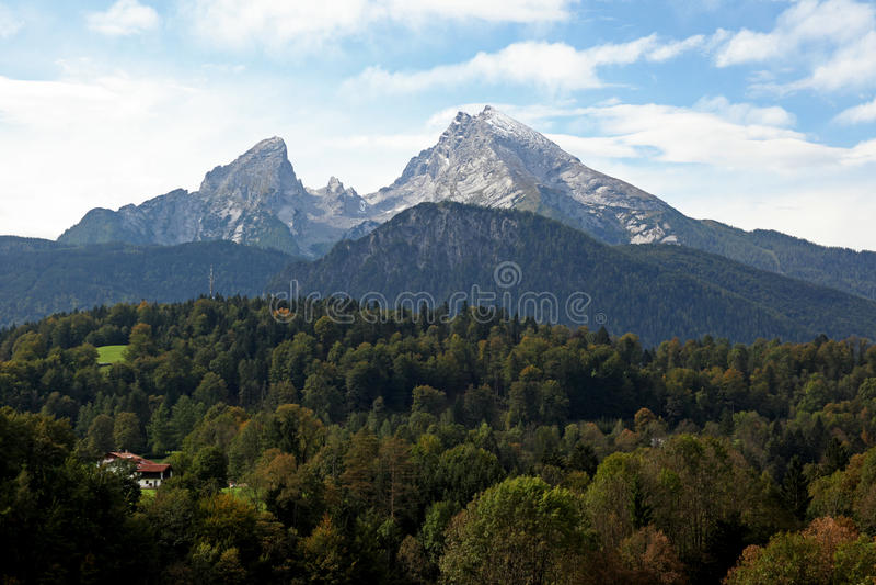 berchtesgaden koenigssee watzman halny pobliski fotografia stock