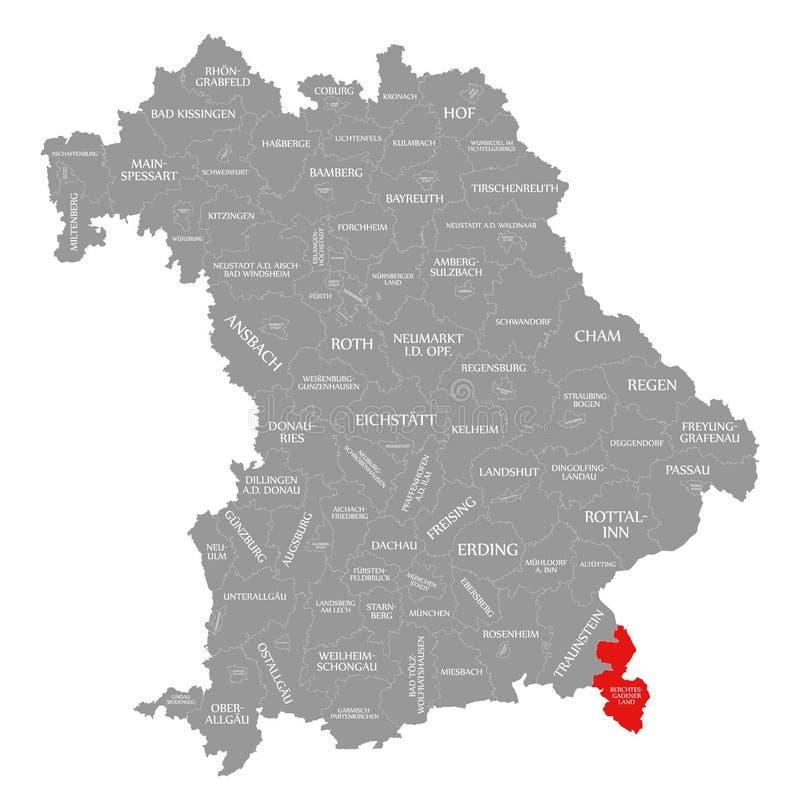 Berchtesgadener Ląduje okręg administracyjny czerwień podkreślającą w mapie Bavaria Niemcy ilustracji
