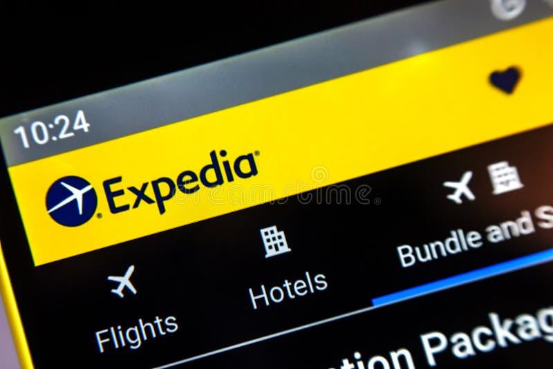 Berdyansk, Ουκρανία - 1 Απριλίου 2019: Αρχική σελίδα ιστοχώρου μετοχών του Expedia στοκ φωτογραφίες με δικαίωμα ελεύθερης χρήσης