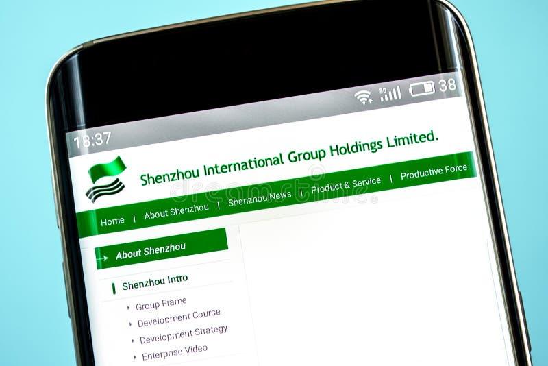 Berdyansk, Украина - 6-ое июня 2019: Домашняя страница вебсайта удерживаний интернациональной бригады Shenzhou Логотип интернацио стоковое изображение